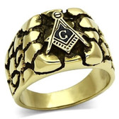 Gold Plated Rocky Face Freemason Ring / Masonic Ring - Enamel & Stainless Steel Band for a Mason - Masonic rings cheap