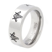Mason Silver Color and Black Enamel Simple Band - Freemason Ring / Masonic Rings Cheap
