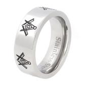 Mason Silver Color and Black Enamel Simple Band - Freemason Ring / Masonic Rings Cheap