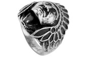 Chief Indian Biker Ring - Stainless Steel -  316L Gothic Motorcycle Biker Band