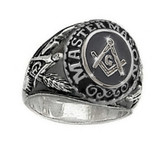 Freemason College Style Ring - with classic center Masonic design etched symbol (Silver Color Stainless Steel) Mason Ring / Masonic Rings for sale.
