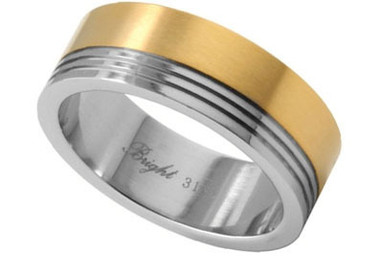 Stainless Steel Ring w/ 14K Gold IP Top Section - Marriage Wedding Band Ring.