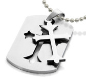 Templar Cross - Embedded Celtic Cross Dog Tag - Gothic / Christian Stainless Steel Pendant w/ chain necklace included!