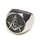 Freemason Ring / Masonic Rings for sale - Chiseled Enamel and Steel Band for Masons