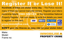 A retail bike card provided to the customer at the point of sale. The sales associate can provide the card along with the written details of the make model and frame identifiers.
