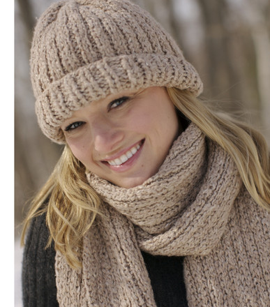 Ribbed Hat and Scarf Set - http://www.knittingboard.com/