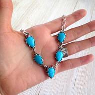 Arizona Blue Turquoise Link Necklace