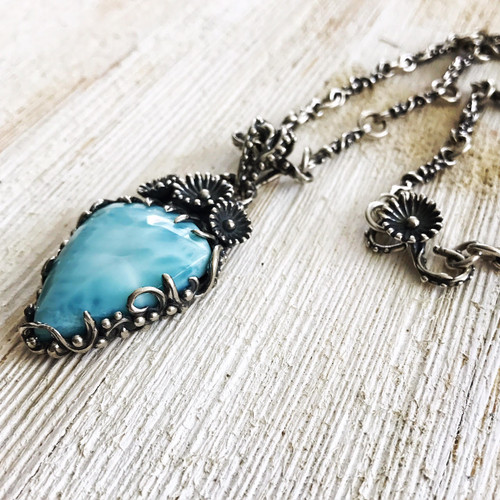 Handmade Sterling Silver Larimar Pendant and Chain