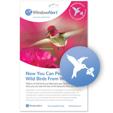 Hummingbird Decal Envelope Decal Pack WindowAlert - Window stickers to deter birds