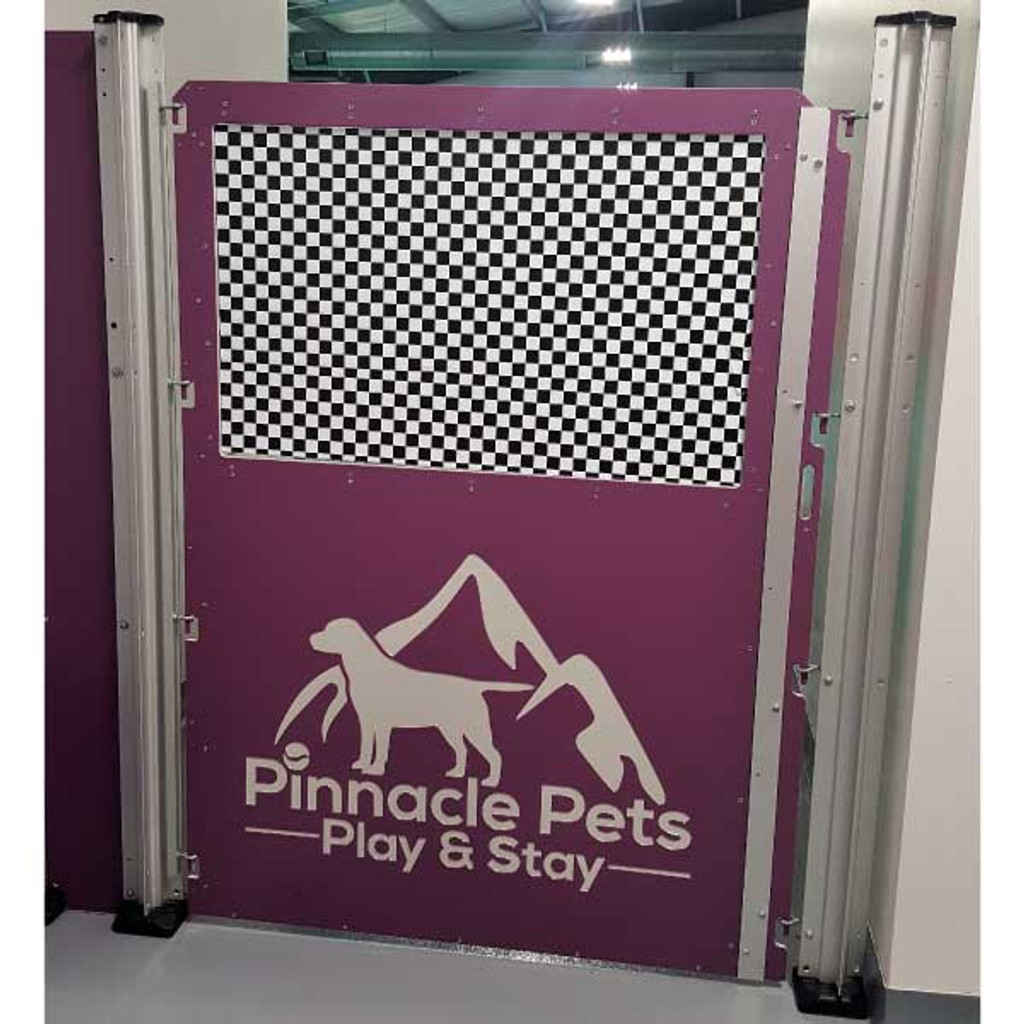 Purple dog kennel gate.