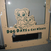 Dog Days & Cat Nights Logo engraved on the dog kennel.