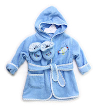 Hooded Terry Bathrobe with Booties, Blue Plane