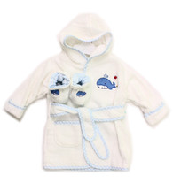 Hooded Terry Bathrobe with Booties, Blue Whale