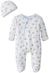 Sleepwear Footie Set with Hat, Blue Dino