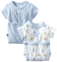 2 Pack Wrap Bodysuit, Blue Dino