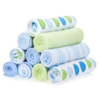 10 Pack Washcloth Set, Blue Dots