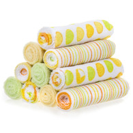 10 Pack Washcloth Set, Yellow/Green Dots