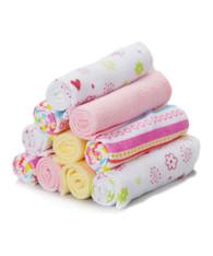10 Pack Washcloth Set, Pink Lines