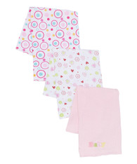 "3 Pack Burp Cloth, Pink ""Baby"""