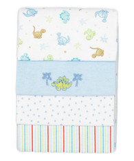 4 Pack Receiving Blanket, Blue Dino