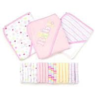 23 Piece Bath Towel Washcloth Giftset, Pink