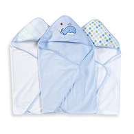 3 Count Soft Terry Hooded Towel Set, Blue Whale