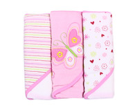 3 Count Soft Terry Hooded Towel Set, Pink Butterfly