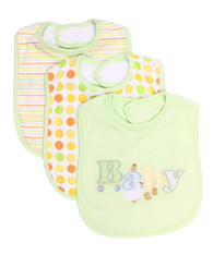 3 Pack Feeding Bibs, Green Baby