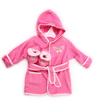 Hooded Terry Bathrobe with Booties, Pink Butterfly