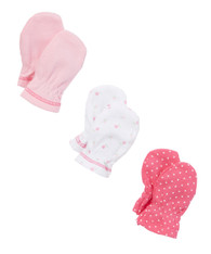 3 Pack Mittens, Pink Rose