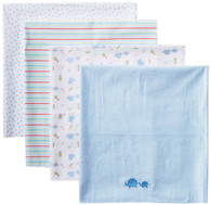 4 Pack Receiving Blanket, Blue Elephant