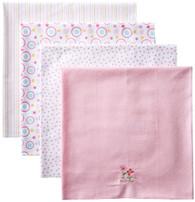 4 Pack Receiving Blanket, Pink Flowers