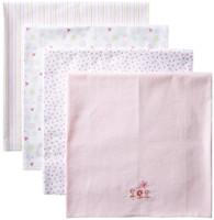4 Pack Receiving Blanket, Pink Garden
