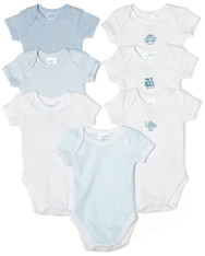 7 Pack Short Sleeve Bodysuit, Blue