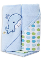 2 Hooded Towel with 2 Washcloths, Blue Whale
