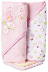 2 Hooded Towel with 2 Washcloths, Pink Butterfly