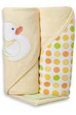 2 Hooded Towel with 2 Washcloths, Yellow Duck