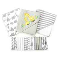 23 Piece Bath Towel Washcloth Giftset, Grey