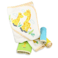 Hooded Terry Bath Towel with 4 Washcloths, Yellow Giraffe