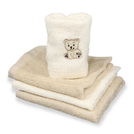 4 Pack Woven Washcloth Set, Brown Bear