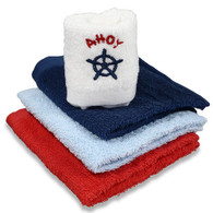 4 Pack Woven Washcloth Set, Navy Nautical