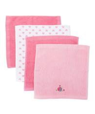 4 Pack Woven Washcloth Set, Fuchsia Fish