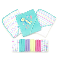 23 Piece Bath Towel Washcloth Giftset, Aqua Seahorse