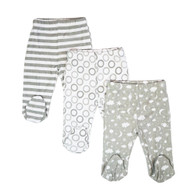 3 Pack Footed Pants, Grey Celestial