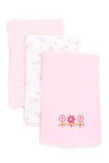 3 Pack Burp Cloth, Pink Flower