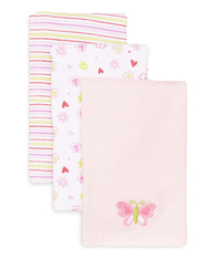 3 Pack Burp Cloth, Pink Butterfly