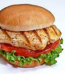 Fresh Grilled Chicken breast served with our signature house garlic sauce, lettuce, tomatoes, onions and american cheese. On a pretzel roll.