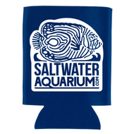 SaltwaterAquarium.com Royal Blue & White Logo Collapsible Beer Coolie (FREE ON ORDERS OVER $50)