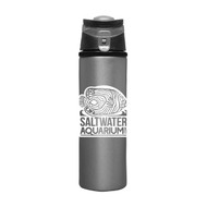 SaltwaterAquarium.com Sheen 20-Ounce Silver Aluminum Water Bottle w/White Logo - Saltwater Aquarium