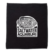 SaltwaterAquarium.com Cotton Aqurium Logo Splash Towel - Black/White Logo